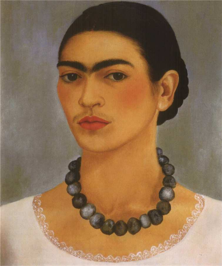 frida kahlo selfprtret with necklace 1933